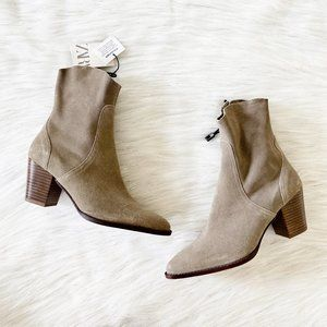 NEW Zara Real Suede Leather Cowboy Ankle Boots